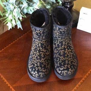 UGG Black/Gold Metallic Conifer Classic Mini Boots